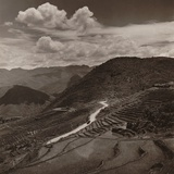 Terraced Fields and Roadway in a Mountainous Region of Yunnan Province in China