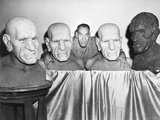House of Horrors  Rondo Hatton Posing with Busts Used in Film  1946