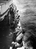 US Marines Stand Along the Rail of the Uss Clymer Taking Them to Korea in Late July  1950