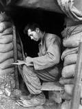 US Soldier Writes a Letter During a Break Along the Fighting Front in Korea  Nov 15  1951