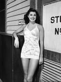 Esther Williams  Who's Had Her Fellow Players Autograph Her Swimsuit  1942