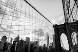 New York City  Brooklyn Bridge Skyline Black and White