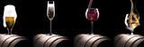 Alcohol Drinks Set Isolated on a Black Papier Photo par Boule1301