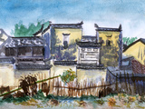 China Jiangxi Village Watercolor