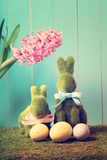 Easter Bunnies with Eggs and Hyacinth Flower