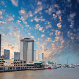 New Orleans Skyline City Buildings on Mississippi River  Lousia