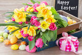 Spring Flowers Bouquet with Easter Eggs