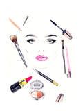 Makeup Artist Woman Portrait Fashion Background
