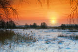 Rural Winter Snowy Landscape at Sunset