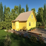 A Bright Yellow Painted Outhouse/Bathroom