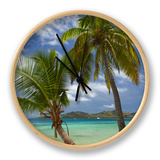 Beach and Palm Trees, Plantation Island Resort, Malolo Lailai Island, Mamanuca Islands, Fiji Horloge par David Wall