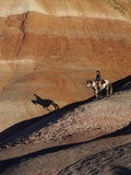 Rider with Shadow Coming down Hill in Painted Desert