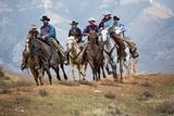 Cowgirl & Cowboy at Full Gallop