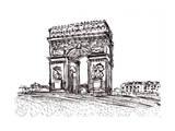 Hand Draw Paris De Arc Triomphe