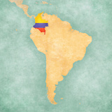 Map of South America - Colombia (Vintage Series) Reproduction d'art par Tindo