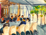 Watercolor Paris Street Coffee Bar
