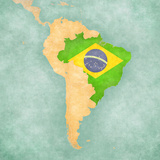 Map of South America - Brazil (Vintage Series) Reproduction d'art par Tindo