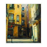 Court Yard in Gothic Quarter of Barcelona  Painting  Illustratio