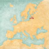 Map of Europe - Latvia (Vintage Series)