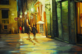Rain in Gothic Quarter of Barcelona  Painting by Oil  Illustrati