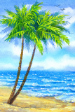 Watercolor Landscape Tall Palms on a Sandy Beach