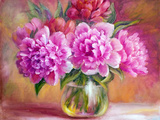 Peonies in Vase  Oil Painting on Canvas