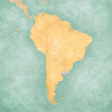 Map of South America - Uruguay (Vintage Series) Reproduction d'art par Tindo