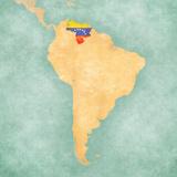 Map of South America - Venezuela (Vintage Series) Reproduction d'art par Tindo