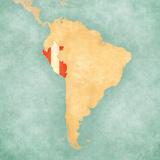 Map of South America - Peru (Vintage Series) Reproduction d'art par Tindo