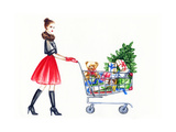 Watercolor Illustration of Lady with Shopping Cart