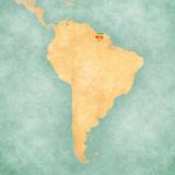 Map of South America - Suriname (Vintage Series) Reproduction d'art par Tindo