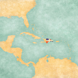 Map of Caribbean - Dominican Republic (Vintage Series)