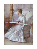 A Woman in White Writing at a Desk  C1864-1930