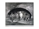 Entrance to the Adelphi Wharf Showing Work Horses and Two Men  Westminster  London  C1850