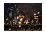 Still Life with Fruits  Flowers and Parrots  1620S