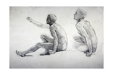 Two Studies of a Seated Male Nude  C1864-1930