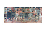 Effects of Good Government on the City Life, (Detail), C1330 Giclée par Ambrogio Lorenzetti