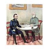Meeting of Generals Grant (Lef) and Lee  American Civil War  1865