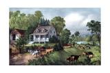American Homestead in Summer, 1868 Giclée par Currier & Ives
