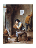 Smoker in Front of a Fire  17th Century