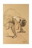 Seated Dancer Adiusting Her Shoes, C1876 Giclée par Edgar Degas