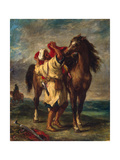 A Moroccan Saddling His Horse  1855