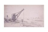Crane at Westminster Bridge  London  C1830