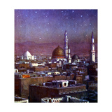 View of Medina  Arabia  by Moonlight  Showing the Dome of the Tomb of the Prophet  1918