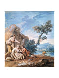 Three Peasants Resting on a River Bank  C1750
