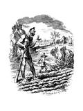 A Giant Stands in a Field as a Farmer Ploughs  19th Century