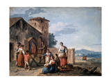 A Group of Peasants before the Tabernacle with the Standing Madonna Statue  C1750