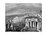 Mount Etna and a View of Taormina  Sicily  Italy  19th Century