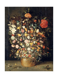 Bouquet of Flowers in a Wooden Vase  1603