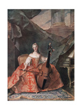 Madame Henriette De France in Court Costume Playing a Bass Viol  1754